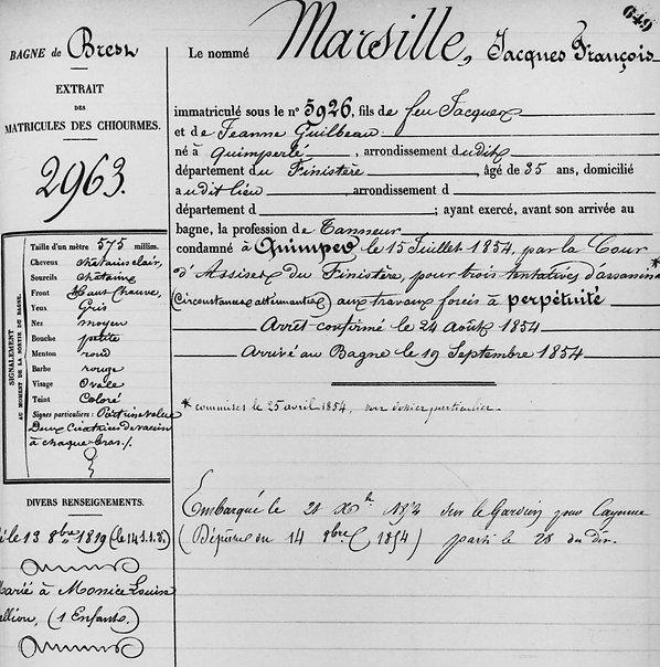 Marsille Jacques François quimperle evade evasion bagne guyane bagnard finistere guilbeau lelliou