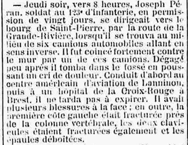 peran joseph marie brest saint pierre quilbignon grande riviere 14-18 Finistère Non Mort France Réformé maladie tuberculose suicide fusillé accident