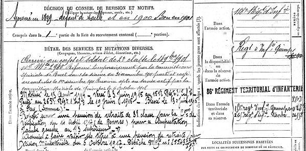laz bleuzen yves merdy 14-18 Finistère Non Mort France Réformé maladie tuberculose suicide fusillé accident