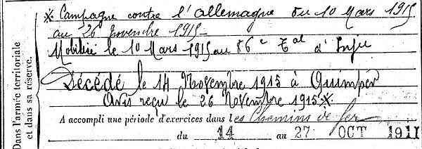 Graic françois leon quimperle orleans chemin fer quimper 14-18 Finistère Non Mort France Réformé maladie tuberculose suicide fusillé accident
