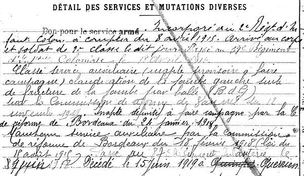 riou joseph querrien berrien quimper 14-18 Finistère Non Mort France Réformé maladie tuberculose suicide fusillé accident