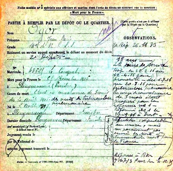 ogor jean marie plouguerneau brest 14-18 Finistère Non Mort France Réformé maladie tuberculose suicide fusillé accident