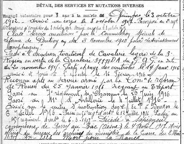 Vinourt Alain René Marie Ergué Armel Guerre 1914 1918 14-18 Finistère Finistérien Mort pour la France Berry au Bac cote 108 Sapigneul Choléra Moscou Mauchamp