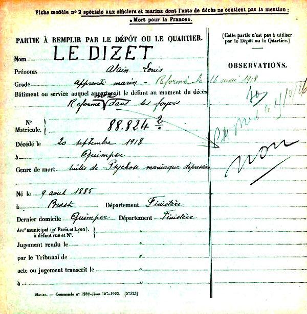 le dizet alian louis brest quimper 14-18 Finistère Non Mort France Réformé maladie tuberculose suicide fusillé accident