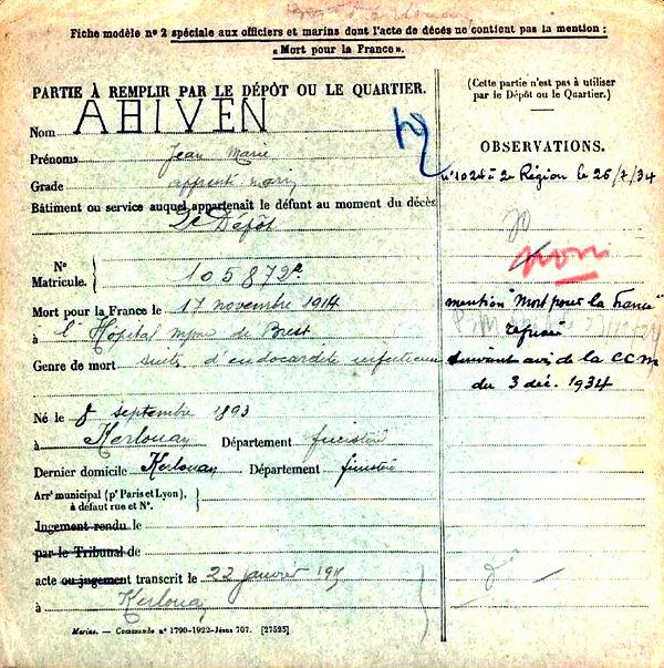 Abiven Jean Marie Kerlouan Brest Guerre 14-18 Finistère Non Mort France Réformé maladie tuberculose suicide fusillé accident