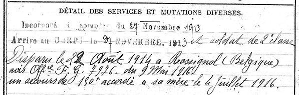 richard jean landrevarzec rossignol belgique 14-18 Finistère Non Mort France Réformé maladie tuberculose suicide fusillé accident