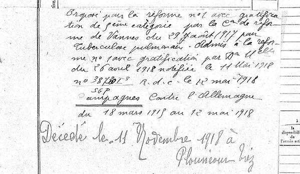 Abjean Uguen Paul Plouneour Trez Guerre 14-18 Finistère Non Mort France Réformé maladie tuberculose suicide fusillé accident