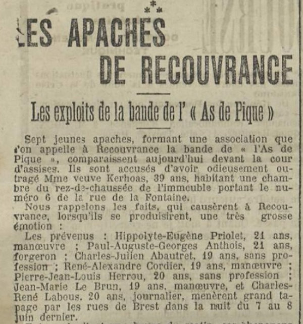 Antois Paul Auguste Georges malpart brst bagne guyane apaches bagnard finistere