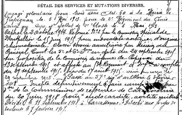 lamendour paul eugene brest carcassonne perpignan 14-18 Finistère Non Mort France Réformé maladie tuberculose suicide fusillé accident