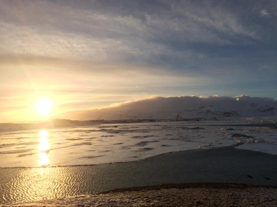 Por do sol em Jökulsárlón
