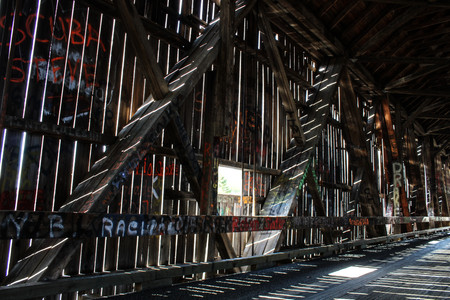 Abstract Covered Wooden Bridge
