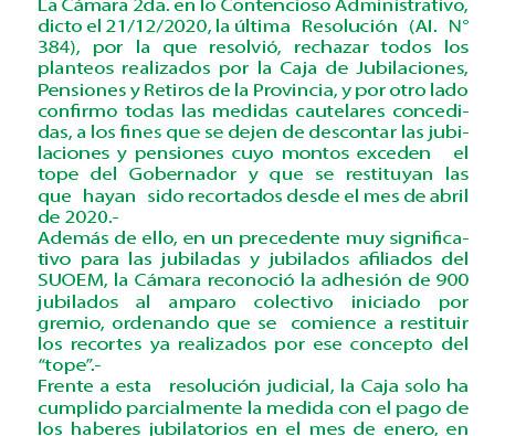 ATENCION JUBILADOS/AS: Se comenzó a devolver los descuentos por tope de sueldo del Gobernador