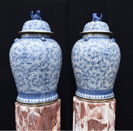 Pair Large Blue and White Nanking Porcelain Temple Jars