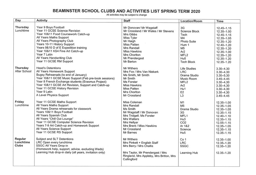 Clubs and Activities List Spring Term 20