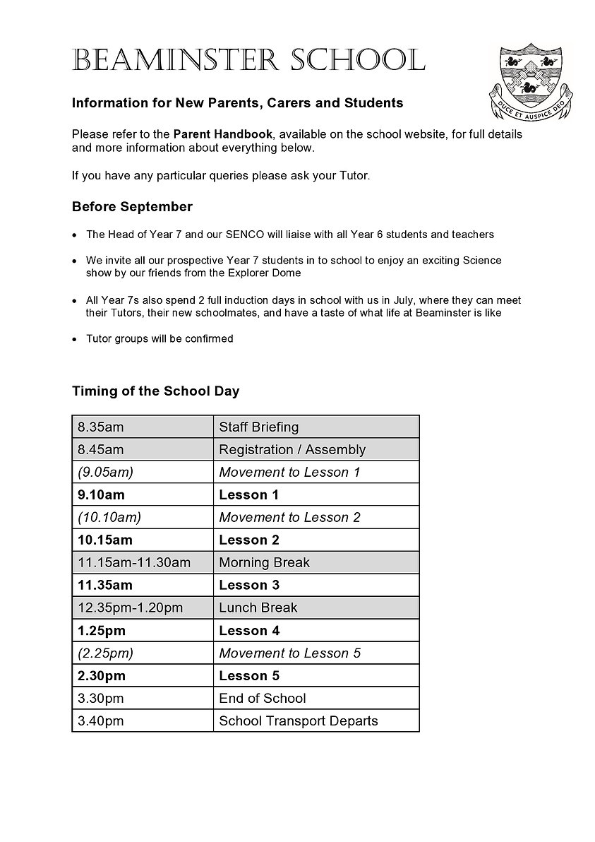 Key information for New Parents Carers a