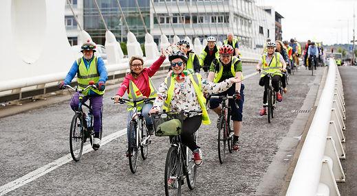 Cyclists on Samuel Beckett Bridge