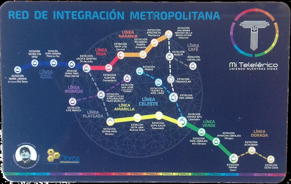 Mi Teleférico map / mapa - Bolivian transit card back