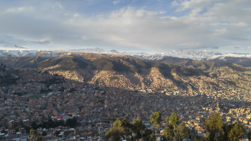 View of La Paz, Bolivia from bus