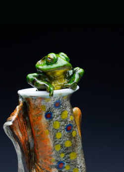 Brook Trout Flask with Frog