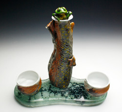 Trout Flask with Frog and River Base