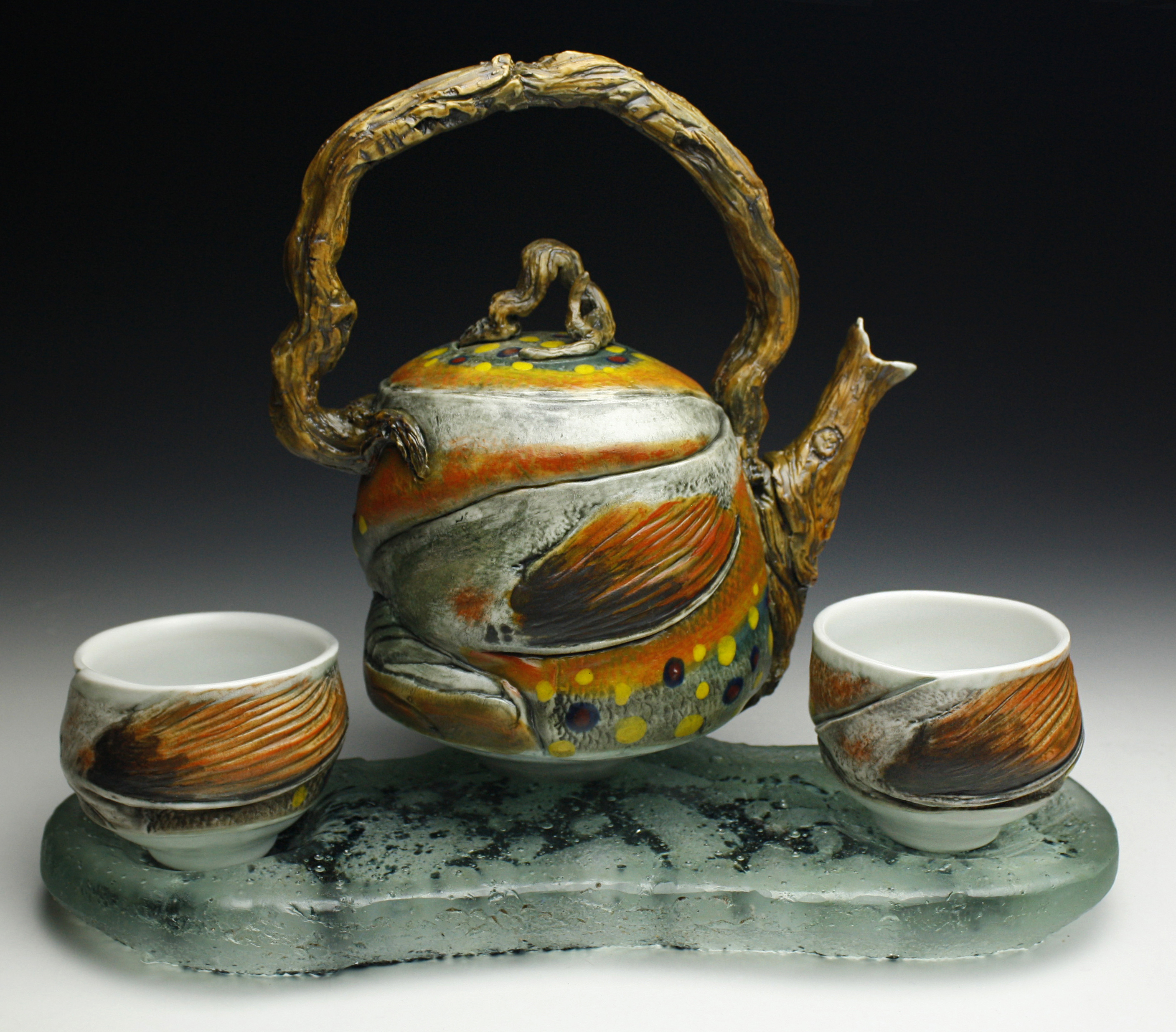 Trout Teapot with River Glass Base