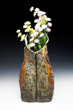 Brook Trout Vessel with Flowers