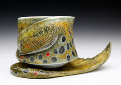Brown Trout Cup & Fish Tail Saucer