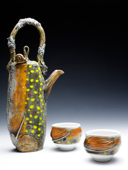 Brook Trout Teapot with Snail