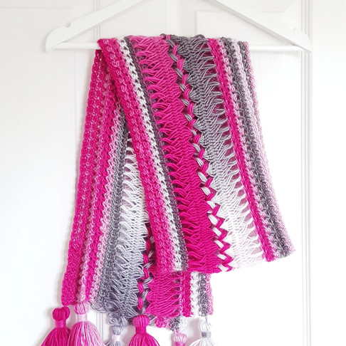 Waves Hairpin Lace Crochet Scarf