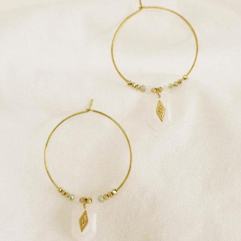 Boucles d'oreilles quartz blanc