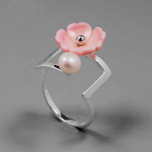 Bague fleur/perle