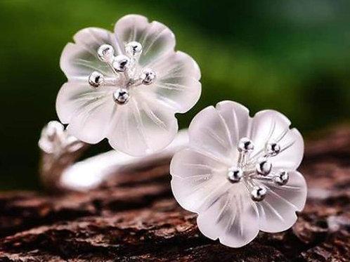 Bague fleur quartz
