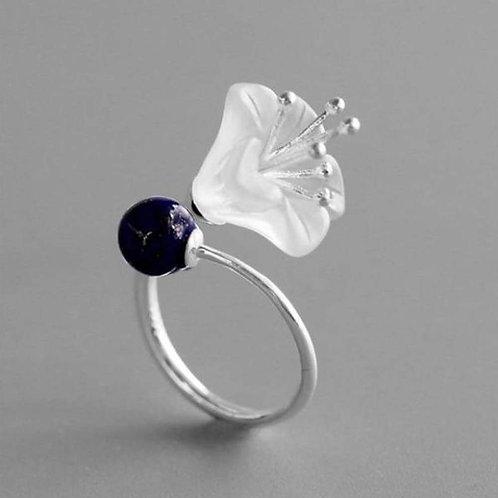 Bague fleur lapis bleu