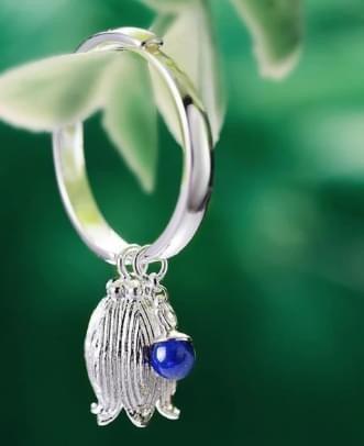 Bague clochette agate bleu