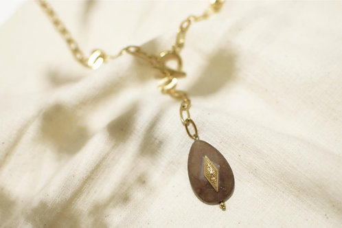 Collier en agate brune