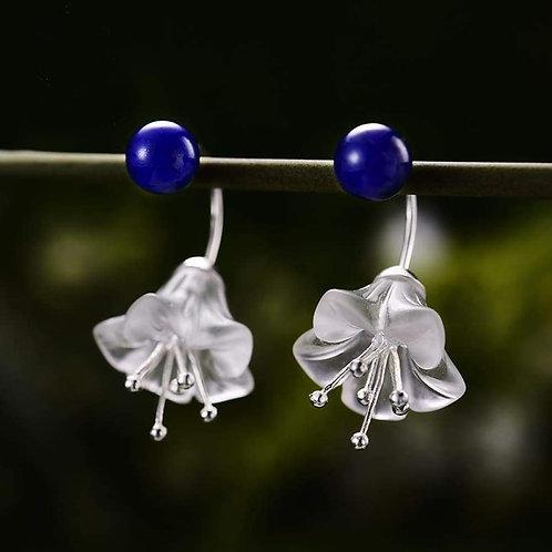 Boucles d'oreilles fleur lapis