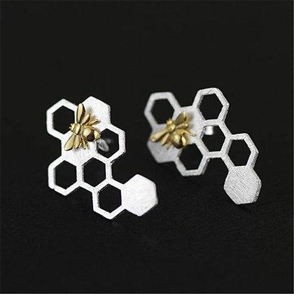Boucles d'oreilles nid d'abeilles