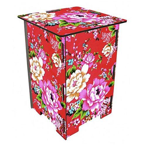 Tabouret photo avec fleurs colorées