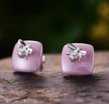 Boucles d'oreilles céramique abeille