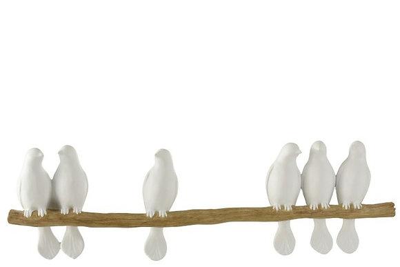 6 oiseaux sur une branche - décoration murale