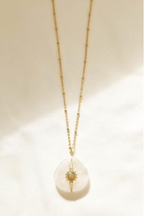 Collier quartz blanc