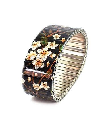 Bracelet extensible noir fleurs 23
