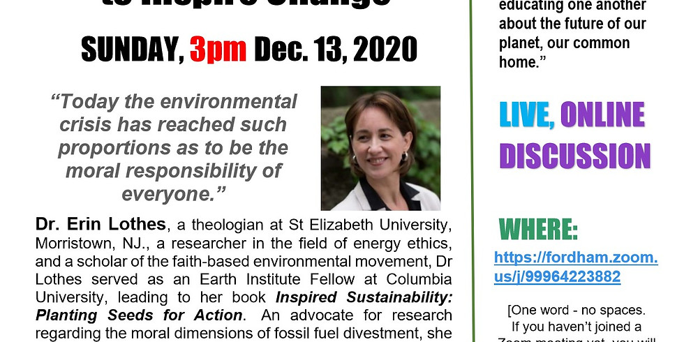 Sustainable Sundays Speaker Series - The Power of Faith Communities to Inspire Change