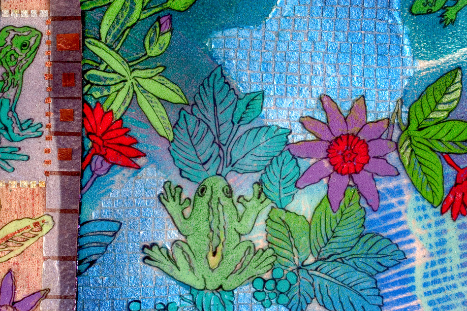 Frogs and Lizards Quilt (Detail)