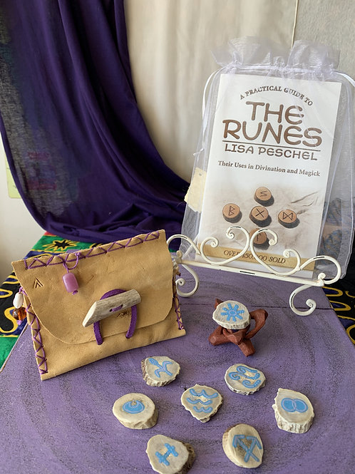 Handmade Witches Runes with Medicine Bag and Intro Book