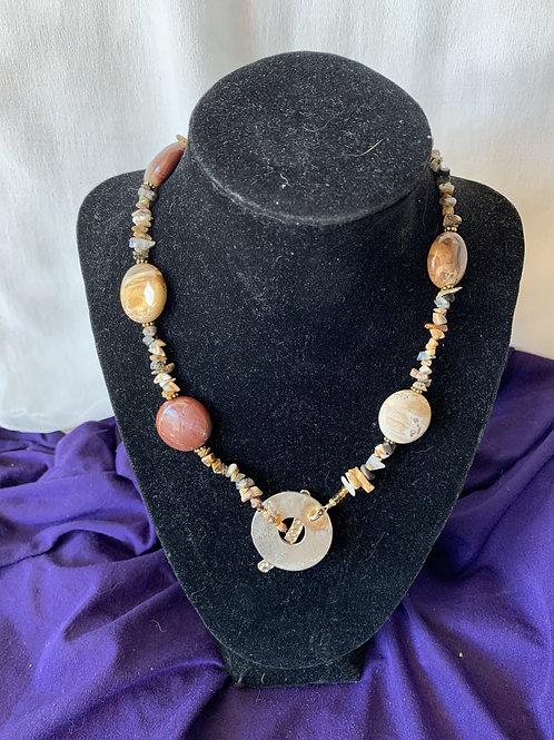 Handmade Orange - Beige Stone Necklace