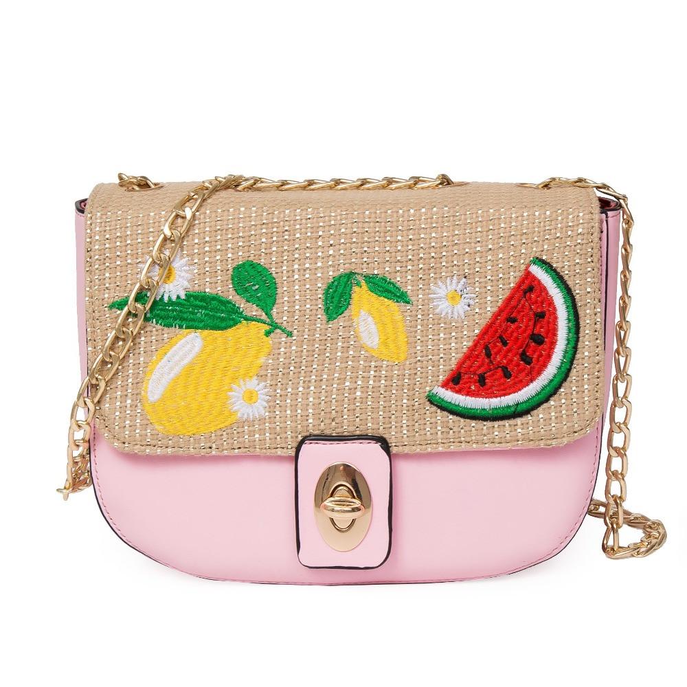 bolsa divertida com frutas