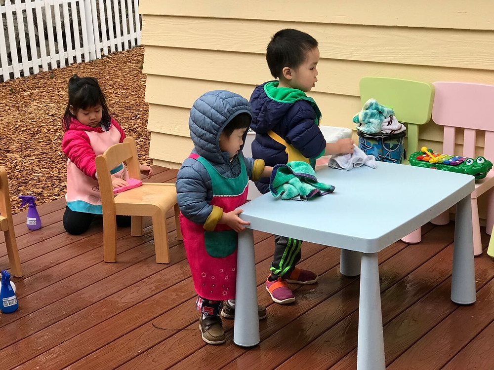 Montessori life: cleaning tegother
