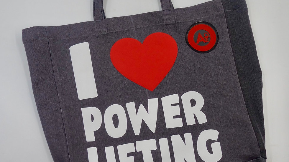 I LOVE POWERLIFTING GYM TOTE (GREY)