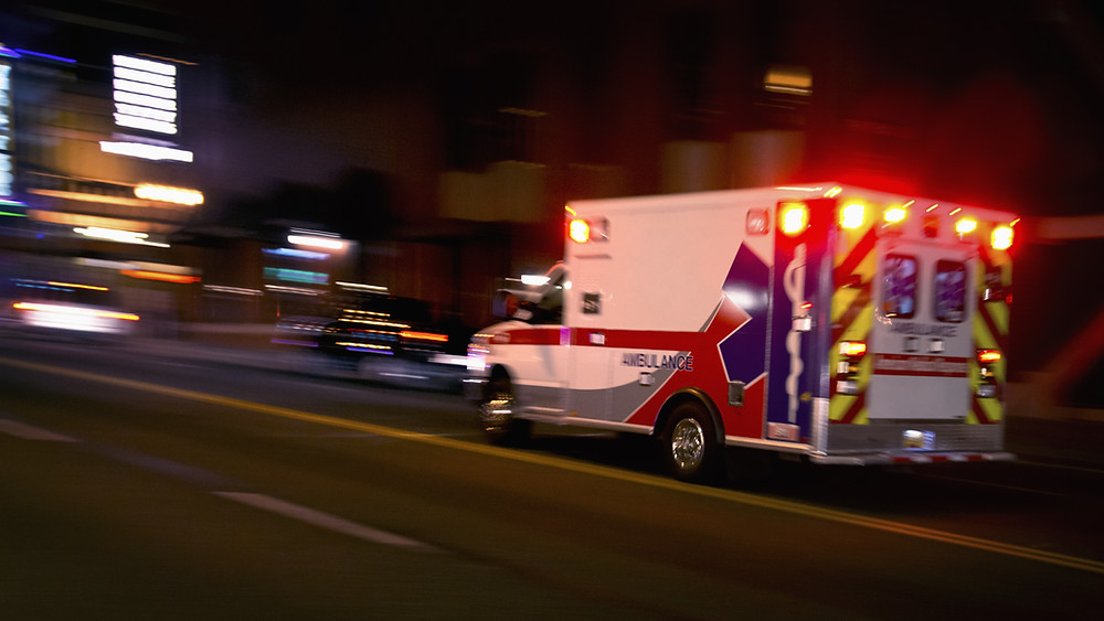 An ambulance enroute to an emergency